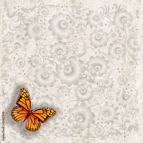 Foto op Aluminium Vlinders in Grunge abstract grunge illustration with butterfly and flowers