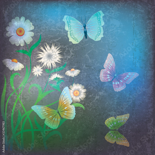 Foto op Plexiglas Vlinders in Grunge abstract grunge illustration with flowers and butterfly