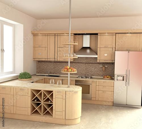 Photo Modern Kitchen Interior ijn 3D