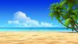 canvas print picture - Palms on empty idyllic tropical sand beach