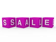 3d Purple Sale Cube