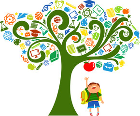 Fototapeta samoprzylepna back to school - tree with education icons