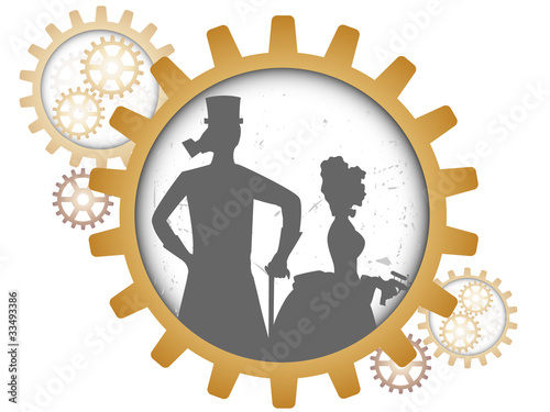 Photo  Silhouettes of steampunk couple inside shadow gear