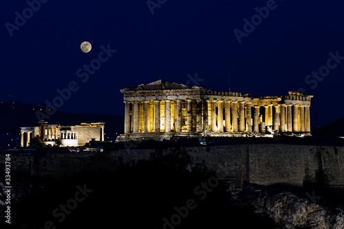 Fotobehang Athene Acropolis (parthenon) by night, under full moon, Athens, Greece