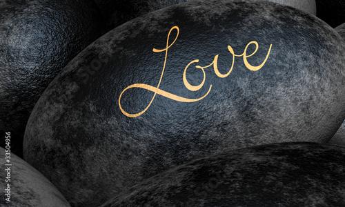Schwarze Steine mit Text - Love Canvas Print