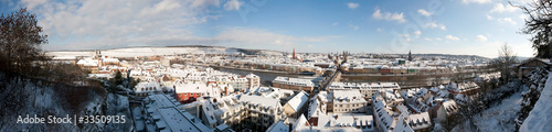 Poster Artistique winter pano of Wuerzburg Germany
