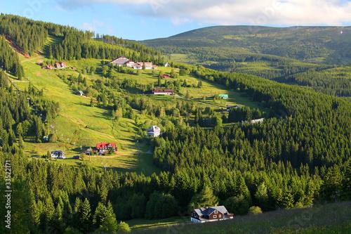 Poster Scandinavie Beautiful green landscape of a mountain.