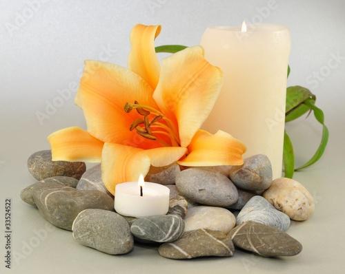 Plissee mit Motiv - Kerzen, Blüte