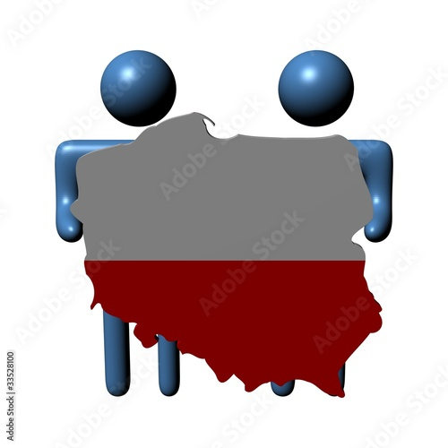 abstract people holding Poland map flag illustration - Buy this ...