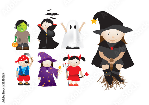 Poster de jardin Creatures childrens dressing up in fancy dress for parties and halloween