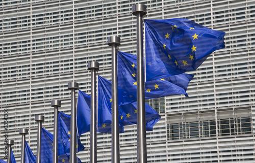 Foto op Canvas Brussel European Union Flags in Brussels