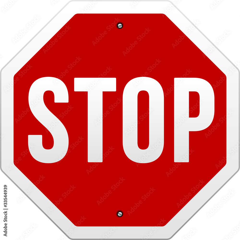 Fototapety, obrazy: Stop Sign vector on white background