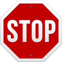 Stop Sign Vector On White Back...