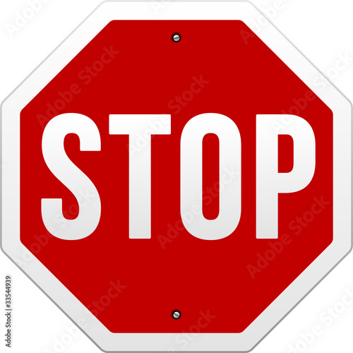 Fotografía  Stop Sign vector on white background