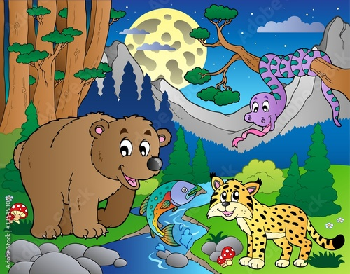Wall Murals Bears Forest scene with happy animals 1
