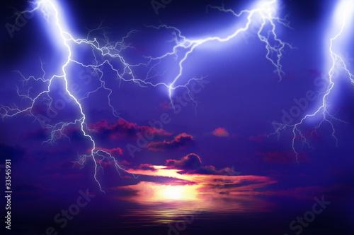 Obraz na płótnie temporale con fulmini