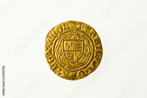 Photo Gold quarter noble of Britain's King Henry VI, obverse