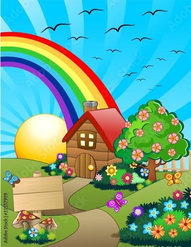 Poster Oiseaux, Abeilles Casa su Colline Verdi Cartoon-Little Home on Green Hills-Vector