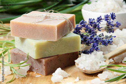 Photo  Homemade Soap with Lavender Flowers