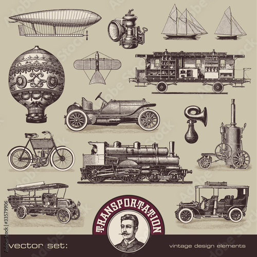 vintage means of transportation - set of design elements