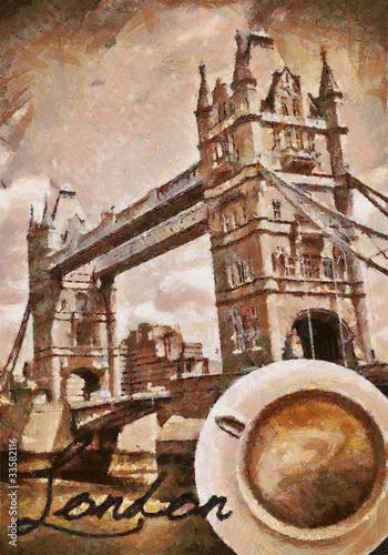 Foto auf AluDibond Gezeichnet Straßenkaffee Oil-painted english coffee in London