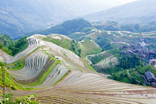 Rice terraces and village in China