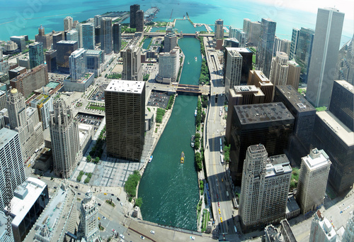 Poster Chicago Unique Chicago skyline panorama from 88th floor on Chicago river
