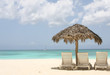 palm tree and two chairs on sand