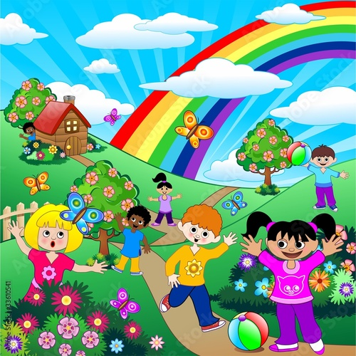 Poster Oiseaux, Abeilles Bambini Giocano su Prati Verdi-Children on Green Meadows-Vector