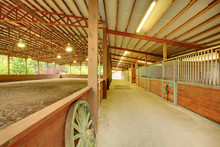 Large Covered Horse Arena With Stables