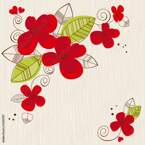 Montage in der Fensternische Abstrakte Blumen Vector floral background