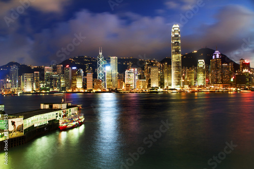 фотография  Hong Kong Harbor at Night from Kowloon Star Ferry