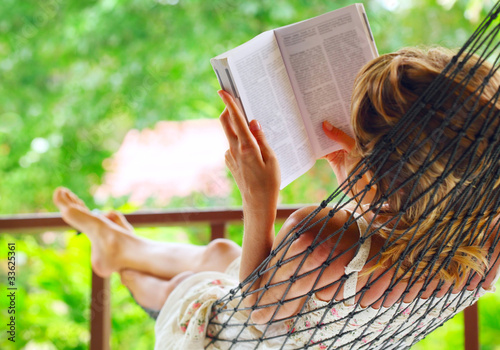 Deurstickers Woman in the hammock