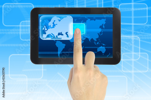 Deurstickers Noord Europa hand pushing Europe Continent on a touch screen interface