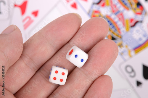 Dice and playing cards плакат