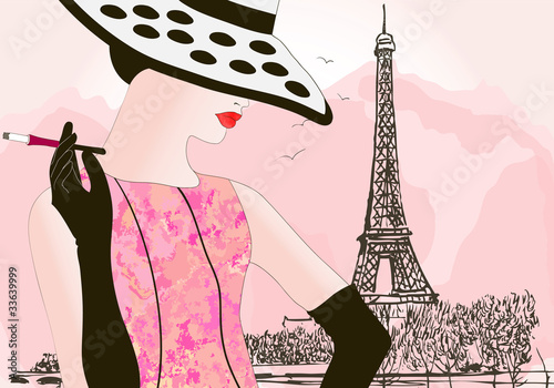 Deurstickers Illustratie Parijs fashion woman in Paris