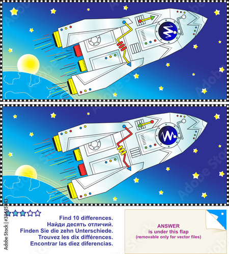 Staande foto Kosmos Find the differences puzzle - space, rocket, Earth and stars