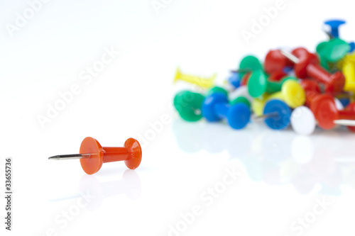 Fotografia, Obraz  A colorful thumb tack