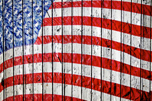 Old Painted American Flag On D...