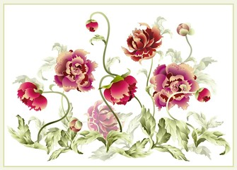 Panel Szklany Peonie Greeting card with peony. Illustration peony.