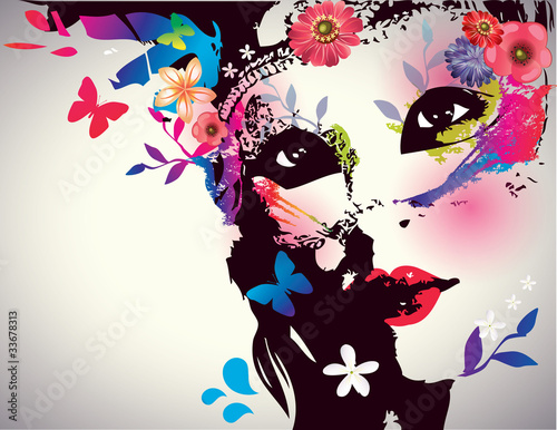Fotobehang Vlinders in Grunge Girl with mask/Vector illustration