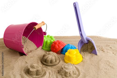 Foto-Leinwand - Spielen im Sand (von IrisArt)