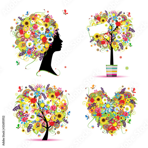 Foto op Canvas Bloemen vrouw Summer style - tree, frame, bouquet, female head for your design