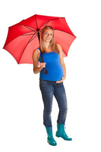 Pregnant Woman With Umbrella Isolated On White