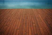 Wooden Wharf And Blue