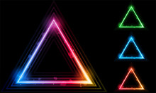 Set Of  Neon Laser Triangle Bo...