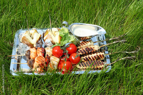 Keuken foto achterwand Picknick Tray with different food for picnic