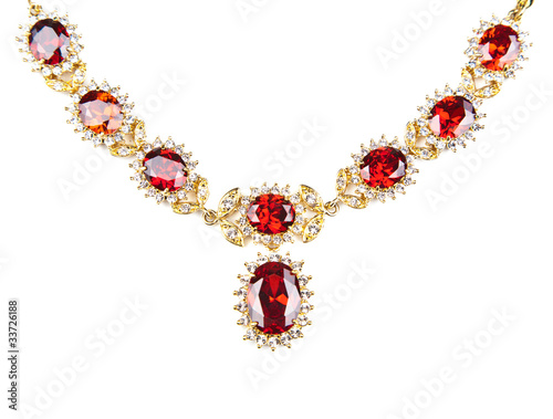 Cuadros en Lienzo gold necklace with gems isolated