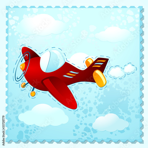 Deurstickers Vliegtuigen, ballon Plane