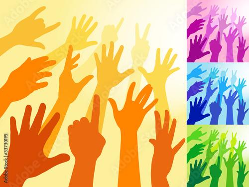 Fototapeten Künstlich Raised Hands